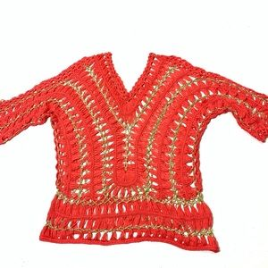 Women's Size M/L Coral Crochet Knit Festival Top